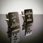 Strieborné manžetové gombíky s gravírovaným venovaním
