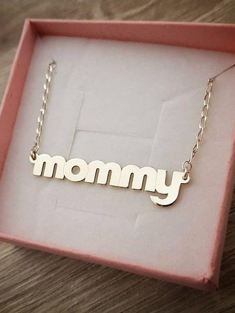 Zlatý náhrdelník Mommy rozmery prívesku 40x9 mm